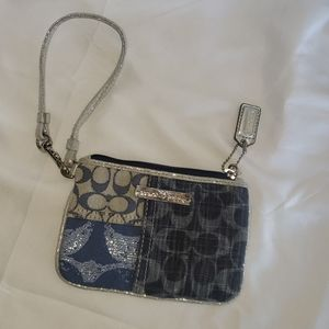 Coach Poppy Blue and Silver Wristlet